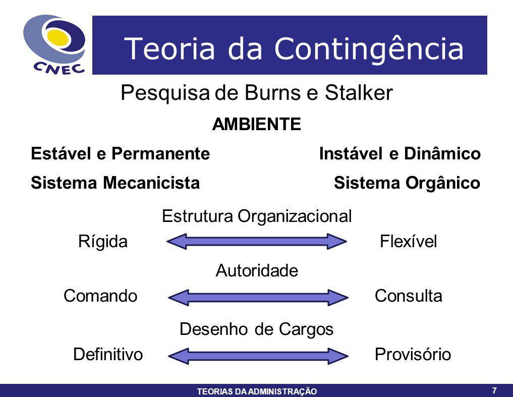 7 TEORIAS DA ADMINISTRAÇÃO 7 Teoria da Contingência Pesquisa de Burns e Stalker AMBIENTE Estável e Permanente Instável e Dinâmico Sistema Mecanicista
