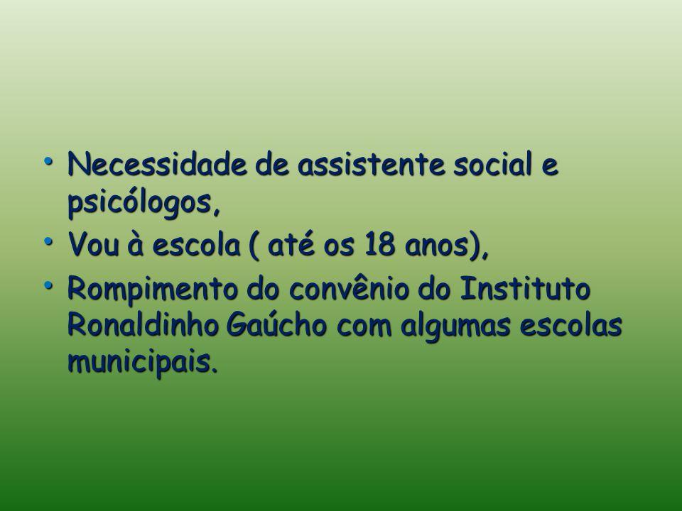 Necessidade de assistente social e psicólogos, Necessidade de assistente social e psicólogos, Vou à escola ( até os 18 anos), Vou à escola ( até os 18 anos), Rompimento do convênio do Instituto Ronaldinho Gaúcho com algumas escolas municipais.