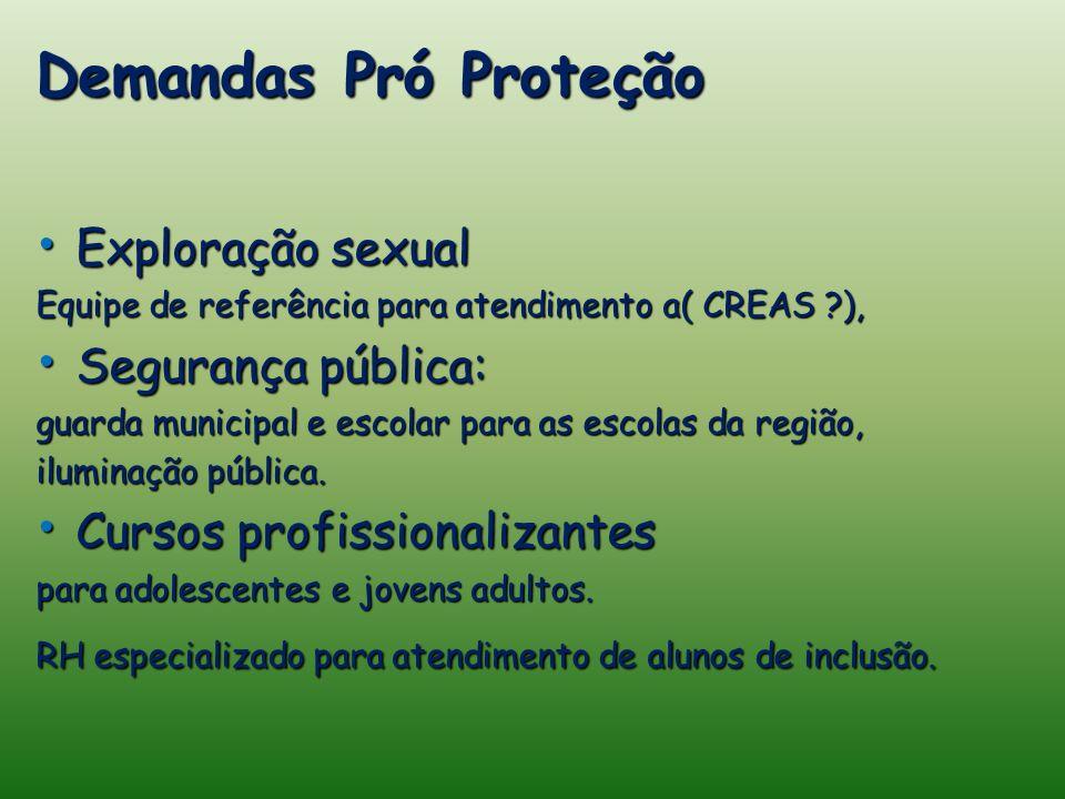 Demandas Pró Proteção Exploração sexual Exploração sexual Equipe de referência para atendimento a( CREAS ), Segurança pública: Segurança pública: guarda municipal e escolar para as escolas da região, iluminação pública.