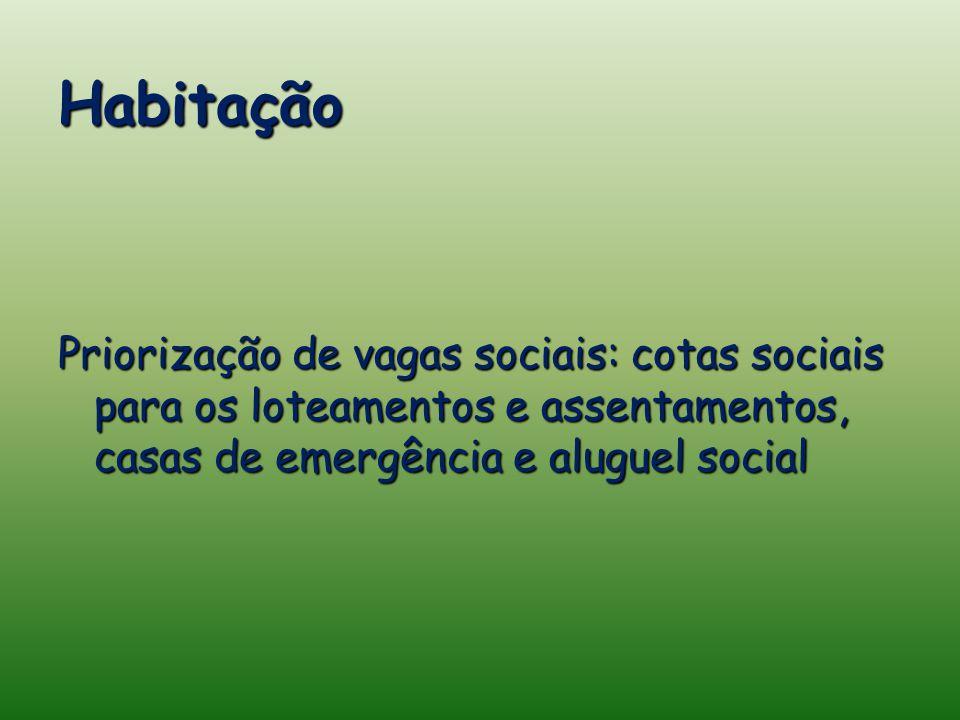 Habitação Priorização de vagas sociais: cotas sociais para os loteamentos e assentamentos, casas de emergência e aluguel social