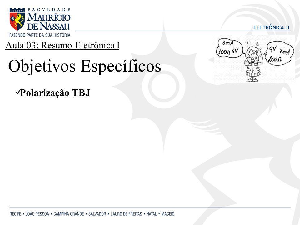 ELETRÔNICA II Polarização TBJ Objetivos Específicos Aula 03: Resumo Eletrônica I