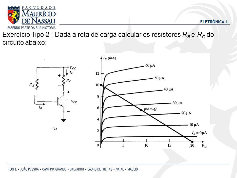 ELETRÔNICA II Exercício Tipo 2 : Dada a reta de carga calcular os resistores R B e R C do circuito abaixo: