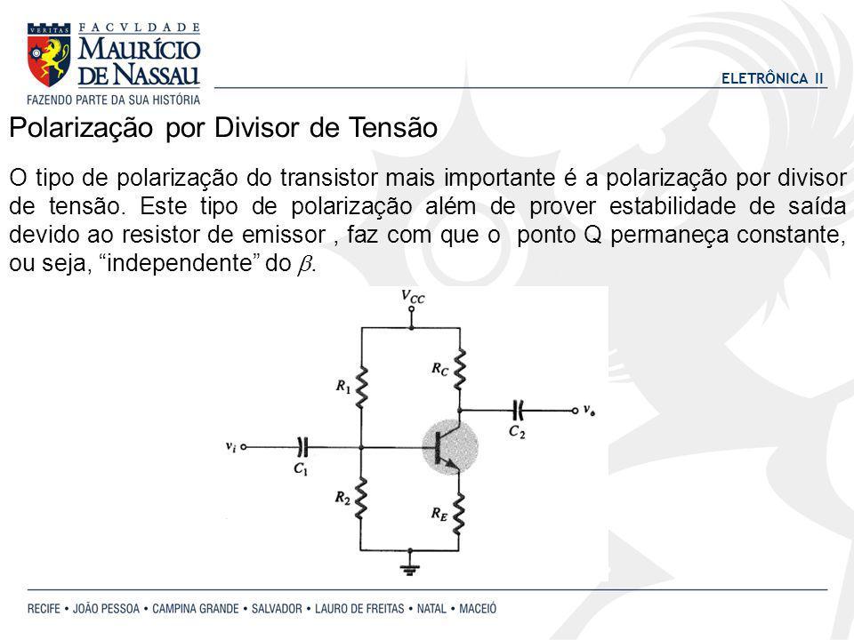 ELETRÔNICA II Polarização por Divisor de Tensão O tipo de polarização do transistor mais importante é a polarização por divisor de tensão. Este tipo d