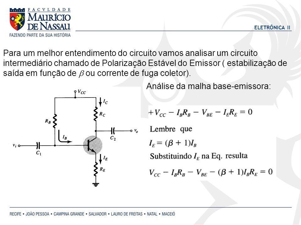 ELETRÔNICA II Para um melhor entendimento do circuito vamos analisar um circuito intermediário chamado de Polarização Estável do Emissor ( estabilização de saída em função de ou corrente de fuga coletor).