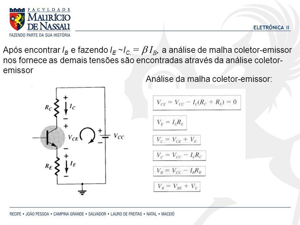 ELETRÔNICA II Após encontrar I B e fazendo I E ~I C, = I B, a análise de malha coletor-emissor nos fornece as demais tensões são encontradas através d
