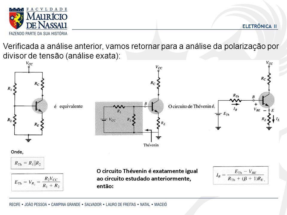 ELETRÔNICA II Verificada a análise anterior, vamos retornar para a análise da polarização por divisor de tensão (análise exata):