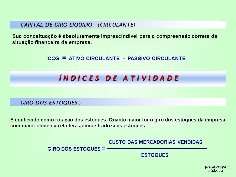 CAPITAL DE GIRO LÍQUIDO (CIRCULANTE) Sua conceituação é absolutamente imprescindível para a compreensão correta da situação financeira da empresa. CCG