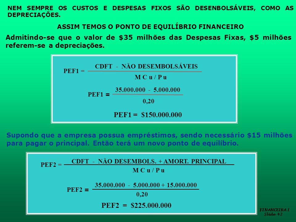 NEM SEMPRE OS CUSTOS E DESPESAS FIXOS SÃO DESENBOLSÁVEIS, COMO AS DEPRECIAÇÕES.