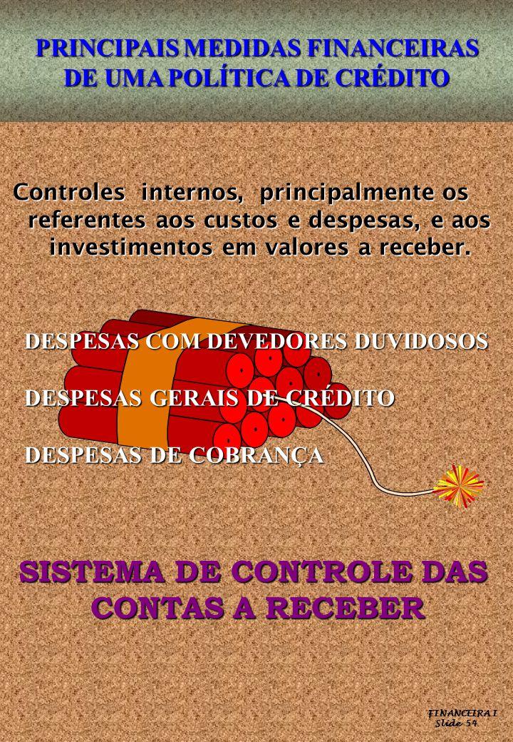 FINANCEIRA I Slide 54 PRINCIPAIS MEDIDAS FINANCEIRAS DE UMA POLÍTICA DE CRÉDITO Controles internos, principalmente os Controles internos, principalmen