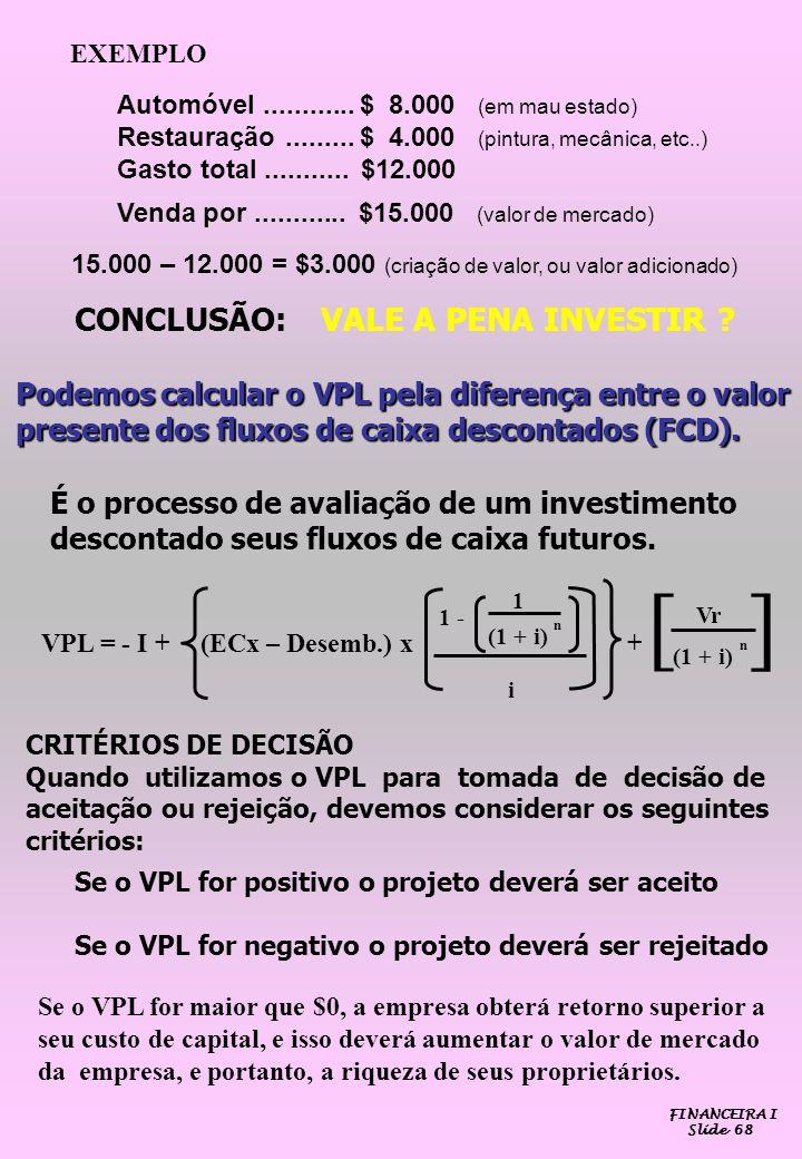 FINANCEIRA I Slide 68 Podemos calcular o VPL pela diferença entre o valor presente dos fluxos de caixa descontados (FCD). É o processo de avaliação de