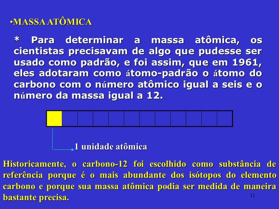 11 MASSA ATÔMICAMASSA ATÔMICA * Para determinar a massa atômica, os cientistas precisavam de algo que pudesse ser usado como padrão, e foi assim, que
