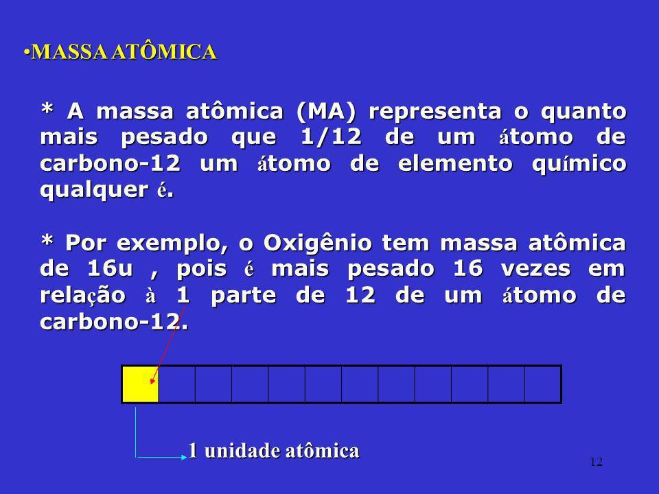 12 MASSA ATÔMICAMASSA ATÔMICA * A massa atômica (MA) representa o quanto mais pesado que 1/12 de um á tomo de carbono-12 um á tomo de elemento qu í mi