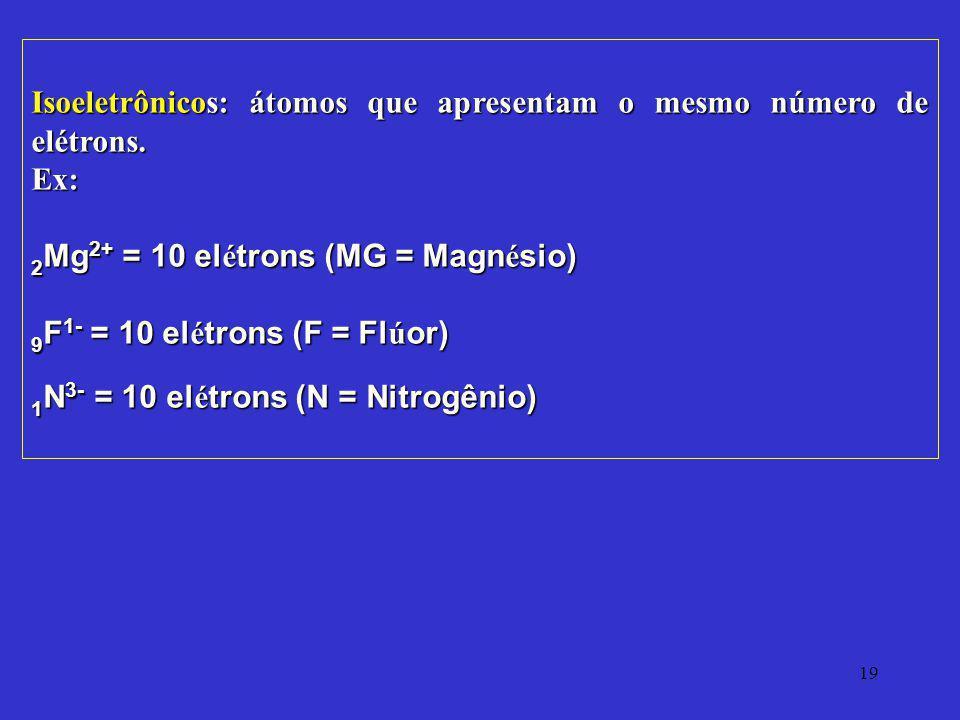 19 Isoeletrônicos: átomos que apresentam o mesmo número de elétrons. Ex: 2 Mg 2+ = 10 el é trons (MG = Magn é sio) 9 F 1- = 10 el é trons (F = Fl ú or