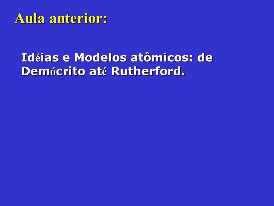 2 Aula anterior: Id é ias e Modelos atômicos: de Dem ó crito at é Rutherford.