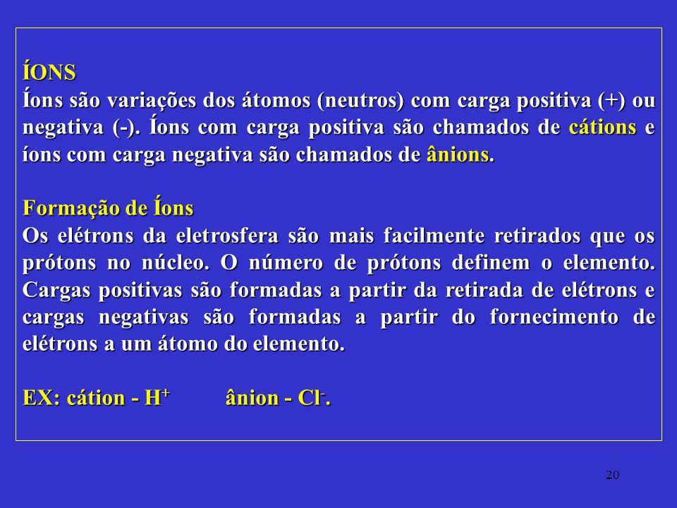 20 ÍONS Íons são variações dos átomos (neutros) com carga positiva (+) ou negativa (-). Íons com carga positiva são chamados de cátions e íons com car