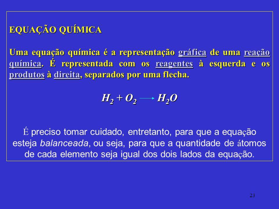 23 EQUAÇÃO QUÍMICA Uma equação química é a representação gráfica de uma reação química. É representada com os reagentes à esquerda e os produtos à dir
