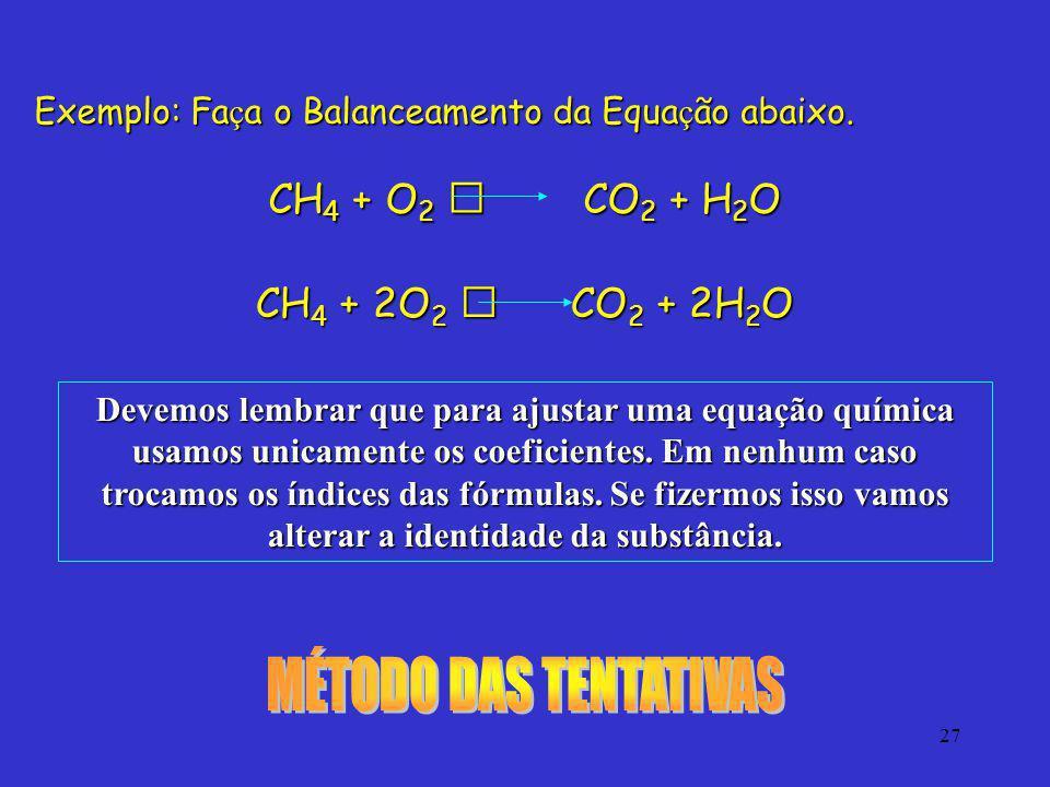 27 Exemplo: Fa ç a o Balanceamento da Equa ç ão abaixo. CH 4 + O 2 CO 2 + H 2 O CH 4 + 2O 2 CO 2 + 2H 2 O Devemos lembrar que para ajustar uma equação