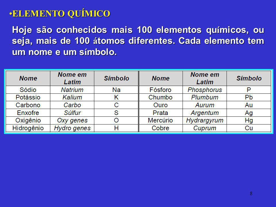 8 ELEMENTO QUÍMICOELEMENTO QUÍMICO Hoje são conhecidos mais 100 elementos qu í micos, ou seja, mais de 100 á tomos diferentes. Cada elemento tem um no