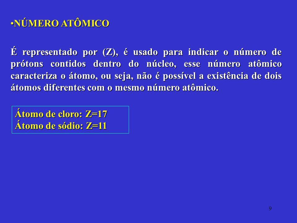 9 NÚMERO ATÔMICONÚMERO ATÔMICO É representado por (Z), é usado para indicar o número de prótons contidos dentro do núcleo, esse número atômico caracte