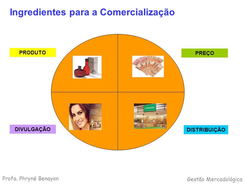 Ingredientes para a Comercialização PRODUTO PREÇO DISTRIBUIÇÃO DIVULGAÇÃO Profa. Phryné Benayon Gestão Mercadológica
