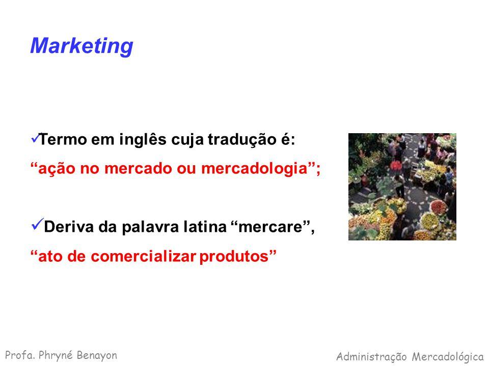 Marketing Termo em inglês cuja tradução é: ação no mercado ou mercadologia; Deriva da palavra latina mercare, ato de comercializar produtos Profa. Phr