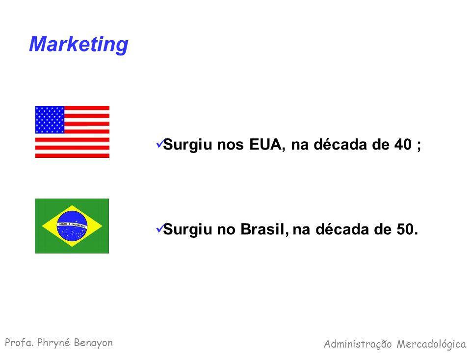 Marketing Surgiu nos EUA, na década de 40 ; Surgiu no Brasil, na década de 50. Profa. Phryné Benayon Administração Mercadológica