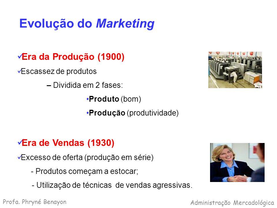 Evolução do Marketing Era da Produção (1900) Escassez de produtos – Dividida em 2 fases: Produto (bom) Produção (produtividade) Era de Vendas (1930) E