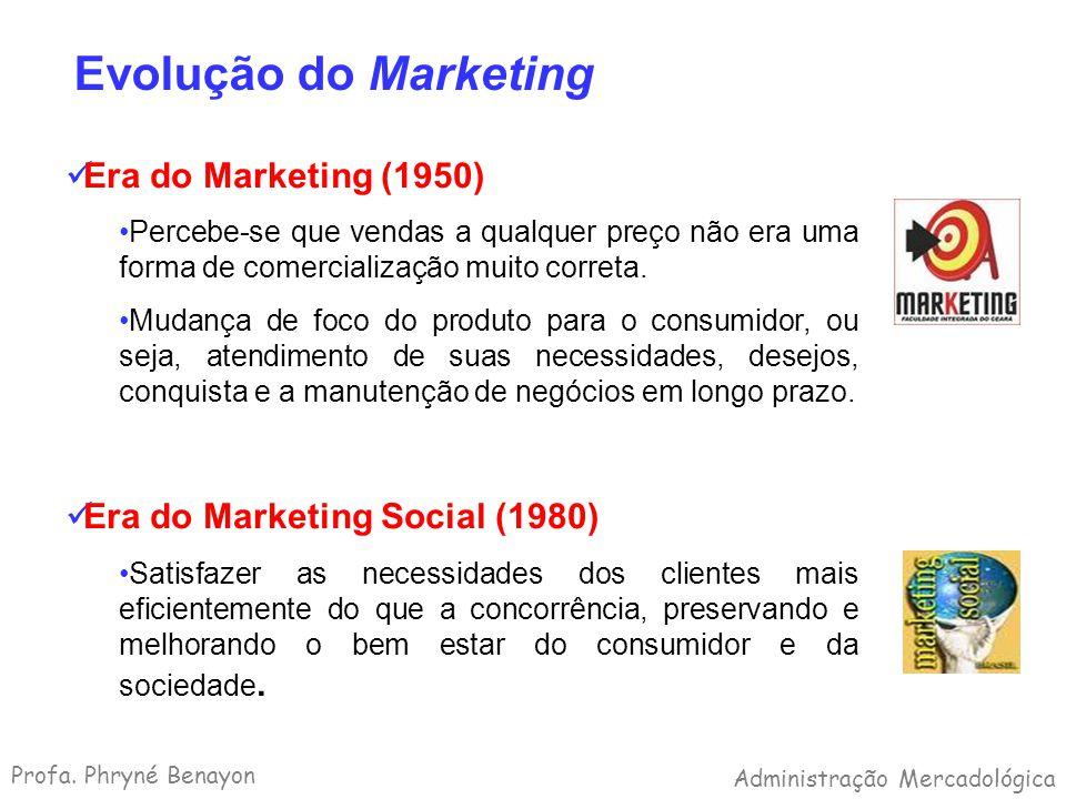 Evolução do Marketing Era do Marketing (1950) Percebe-se que vendas a qualquer preço não era uma forma de comercialização muito correta. Mudança de fo