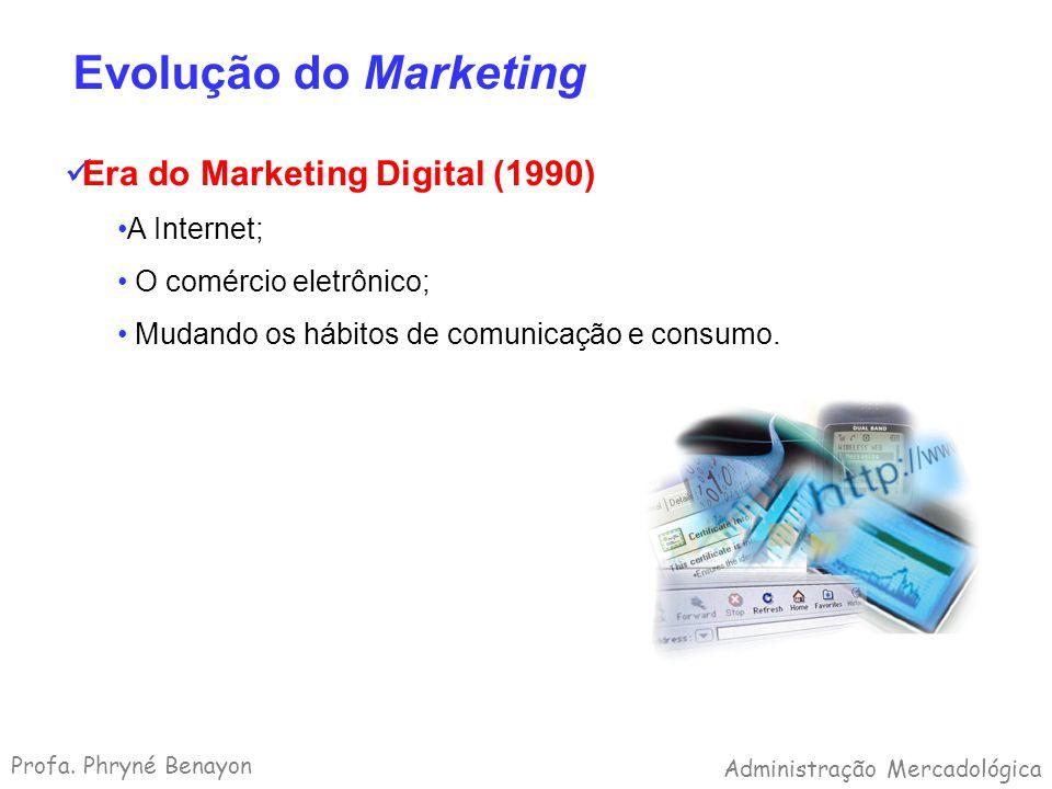 Evolução do Marketing Era do Marketing Digital (1990) A Internet; O comércio eletrônico; Mudando os hábitos de comunicação e consumo. Profa. Phryné Be