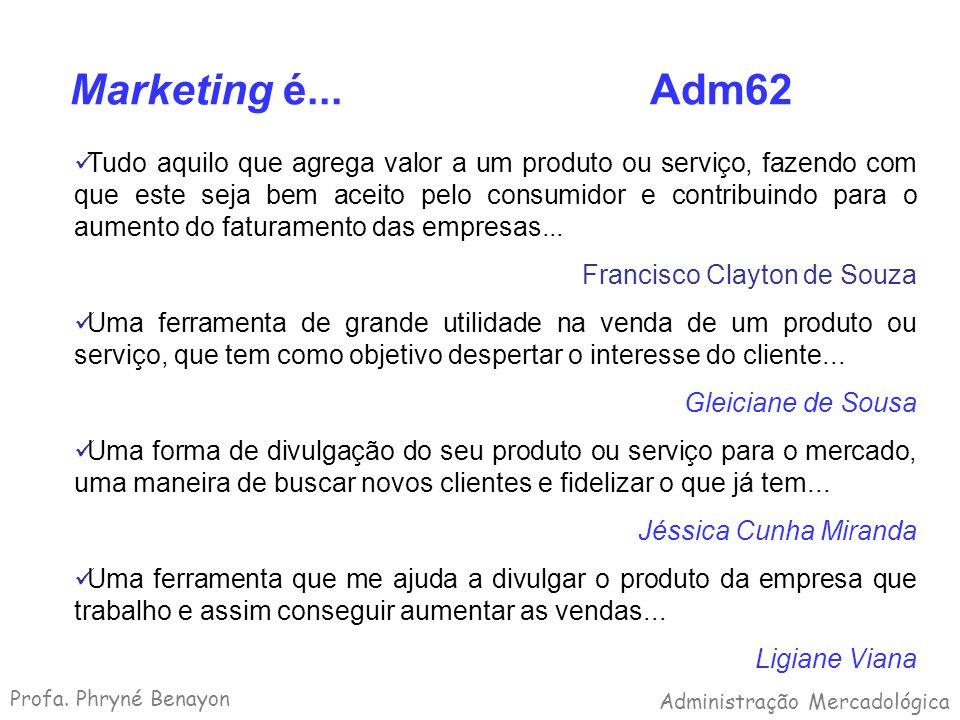 Marketing é... Adm62 Tudo aquilo que agrega valor a um produto ou serviço, fazendo com que este seja bem aceito pelo consumidor e contribuindo para o