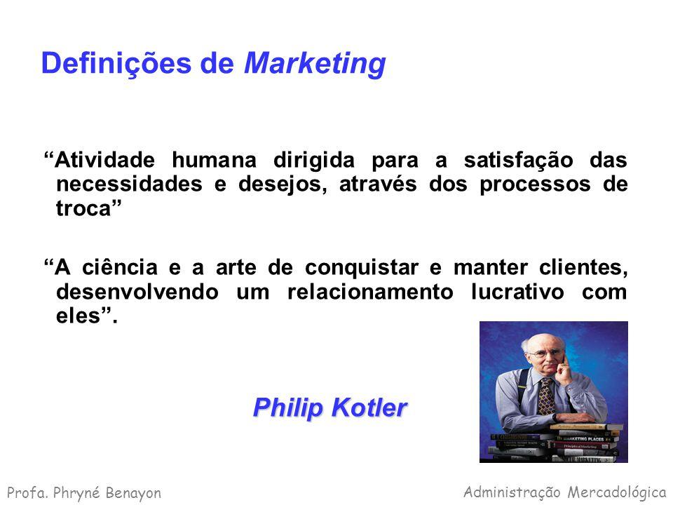 Definições de Marketing Atividade humana dirigida para a satisfação das necessidades e desejos, através dos processos de troca A ciência e a arte de c