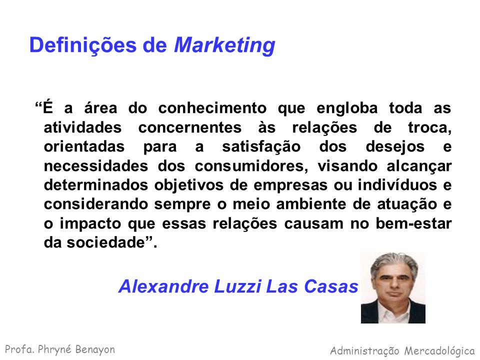 Definições de Marketing É a área do conhecimento que engloba toda as atividades concernentes às relações de troca, orientadas para a satisfação dos de
