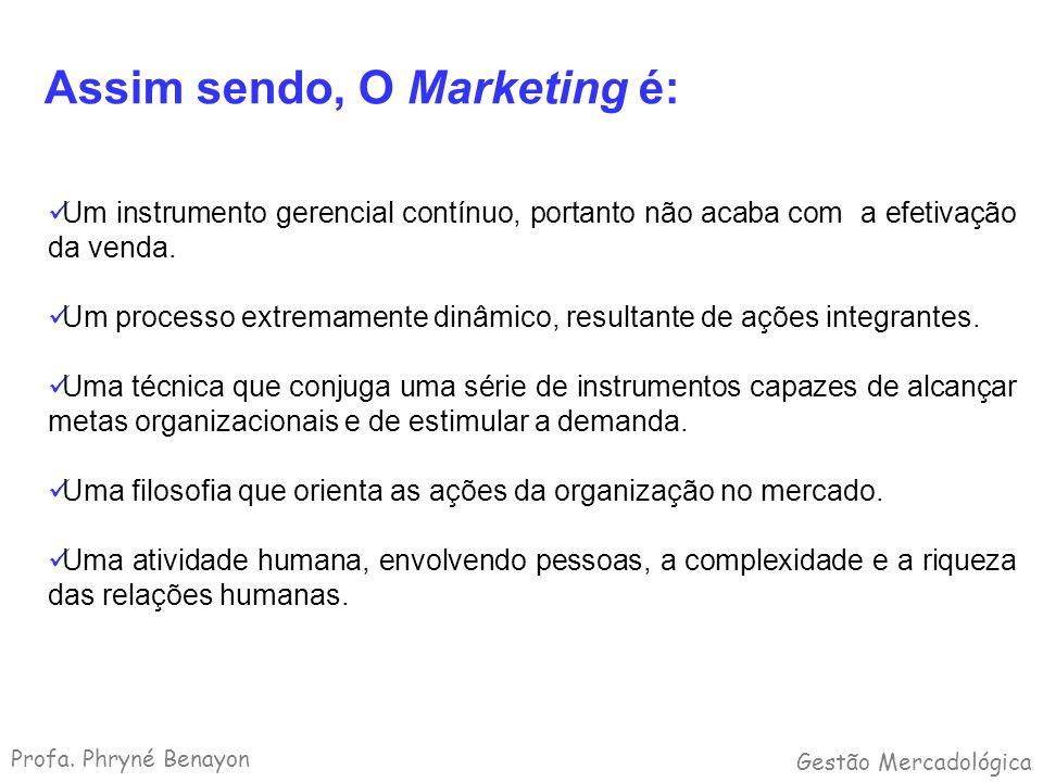 Assim sendo, O Marketing é: Um instrumento gerencial contínuo, portanto não acaba com a efetivação da venda. Um processo extremamente dinâmico, result