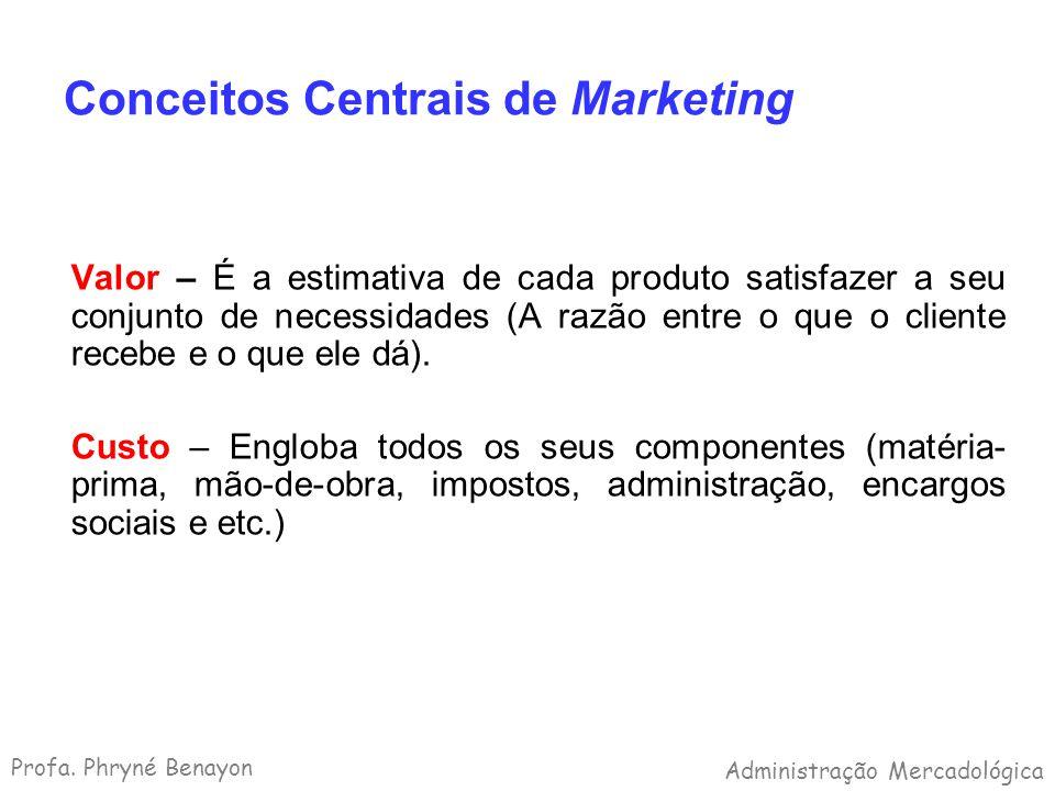 Conceitos Centrais de Marketing Valor – É a estimativa de cada produto satisfazer a seu conjunto de necessidades (A razão entre o que o cliente recebe