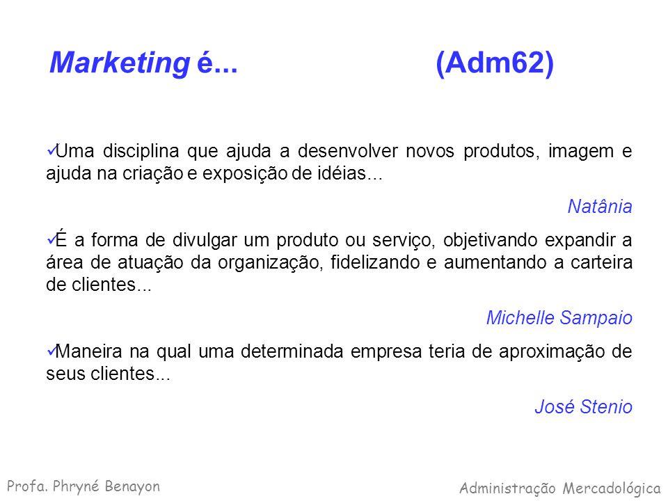 Marketing é... (Adm62) Uma disciplina que ajuda a desenvolver novos produtos, imagem e ajuda na criação e exposição de idéias... Natânia É a forma de