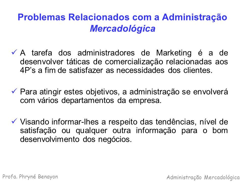 Problemas Relacionados com a Administração Mercadológica A tarefa dos administradores de Marketing é a de desenvolver táticas de comercialização relac