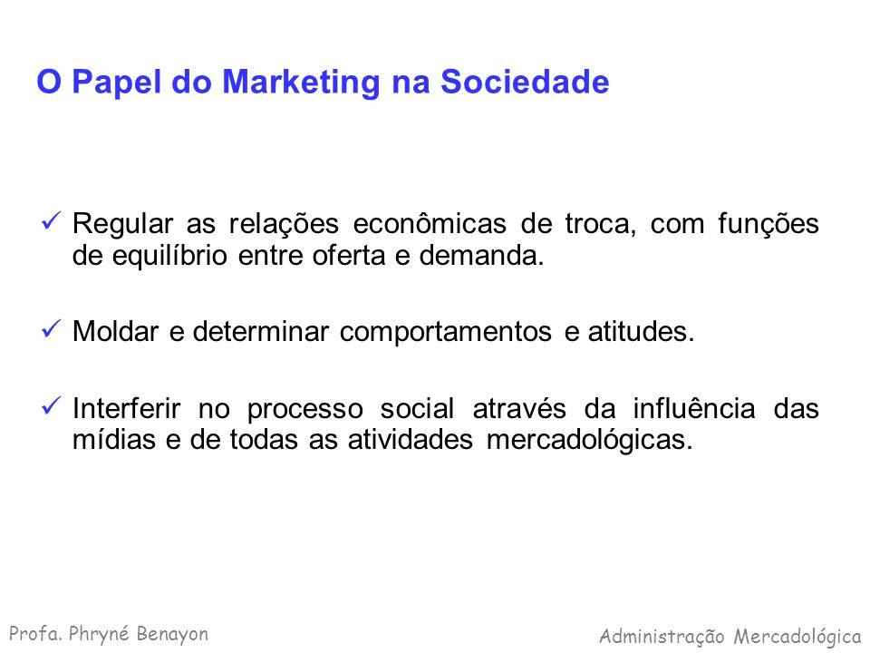 O Papel do Marketing na Sociedade Regular as relações econômicas de troca, com funções de equilíbrio entre oferta e demanda. Moldar e determinar compo