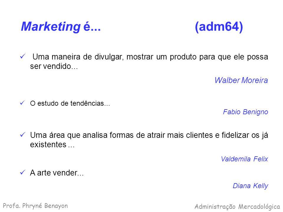 Marketing é... (adm64) Uma maneira de divulgar, mostrar um produto para que ele possa ser vendido... Walber Moreira O estudo de tendências... Fabio Be