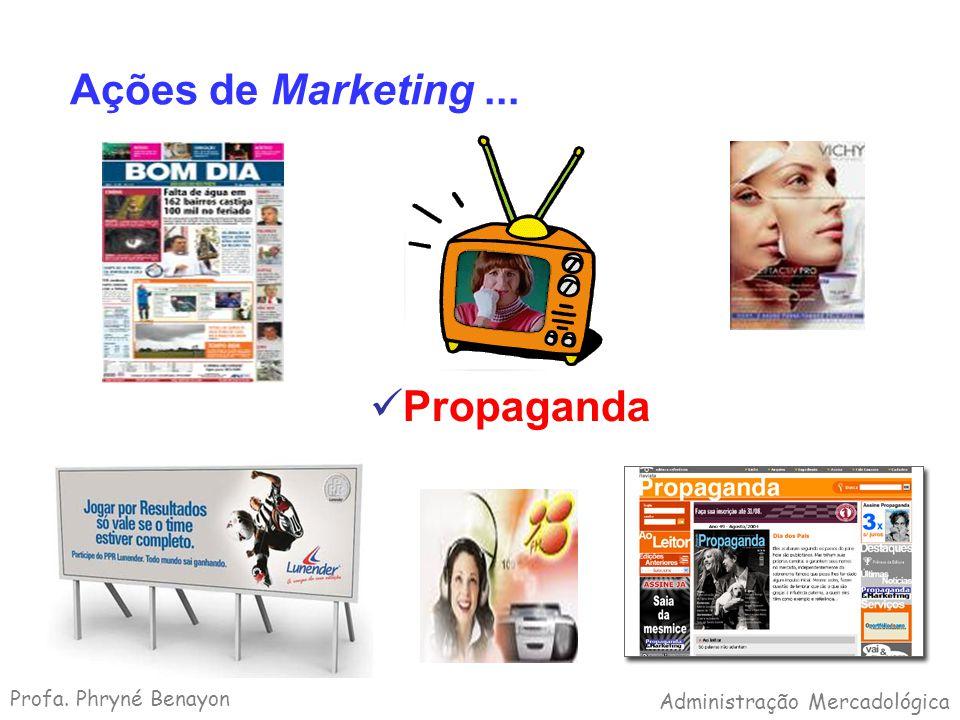 Ações de Marketing... Propaganda Profa. Phryné Benayon Administração Mercadológica