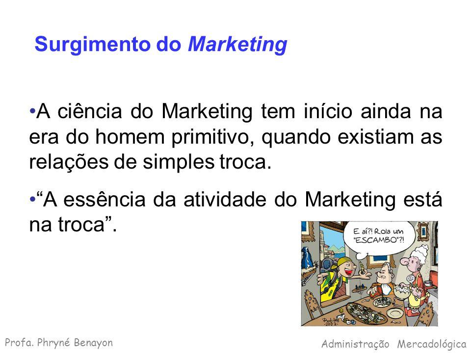 Surgimento do Marketing A ciência do Marketing tem início ainda na era do homem primitivo, quando existiam as relações de simples troca. A essência da