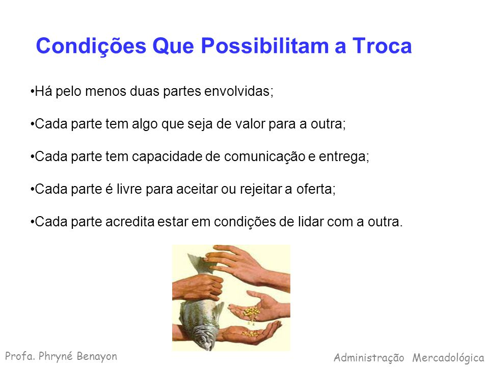 Condições Que Possibilitam a Troca Há pelo menos duas partes envolvidas; Cada parte tem algo que seja de valor para a outra; Cada parte tem capacidade