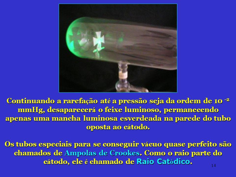 14 Continuando a rarefa ç ão at é a pressão seja da ordem de 10 -2 mmHg, desaparecer á o feixe luminoso, permanecendo apenas uma mancha luminosa esver