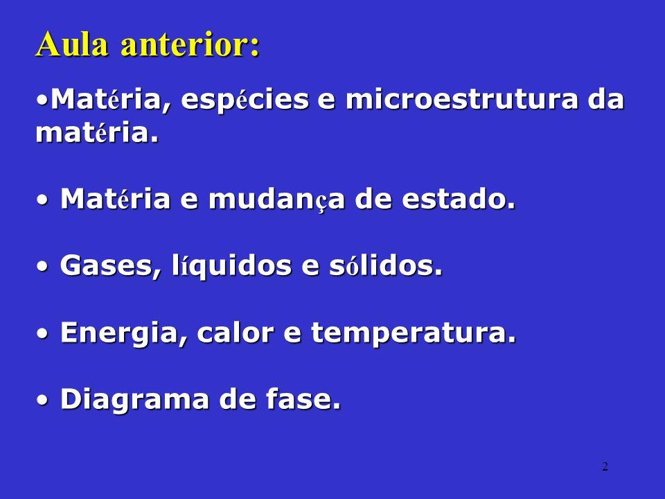 2 Aula anterior: Mat é ria, esp é cies e microestrutura da mat é ria.Mat é ria, esp é cies e microestrutura da mat é ria. Mat é ria e mudan ç a de est