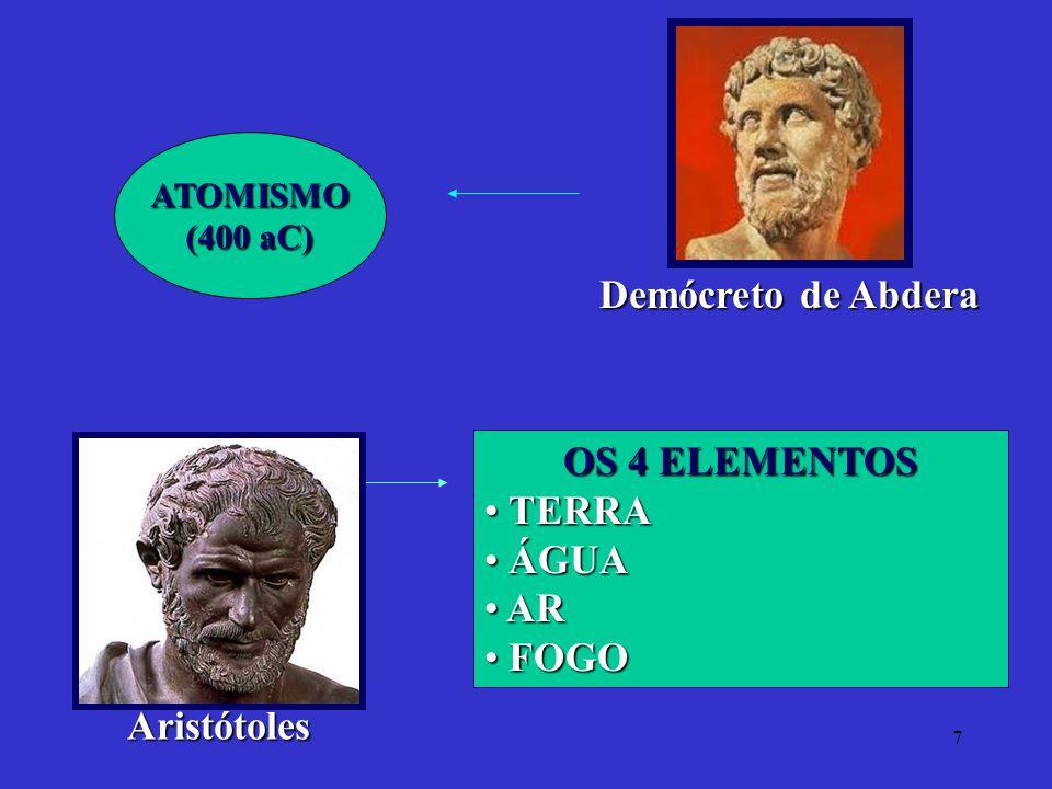 7 Demócreto de Abdera ATOMISMO (400 aC) Aristótoles OS 4 ELEMENTOS TERRA TERRA ÁGUA ÁGUA AR AR FOGO FOGO