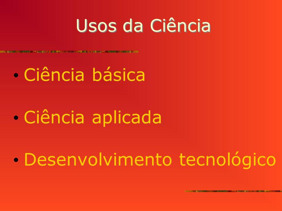 Usos da Ciência Ciência básica Ciência aplicada Desenvolvimento tecnológico