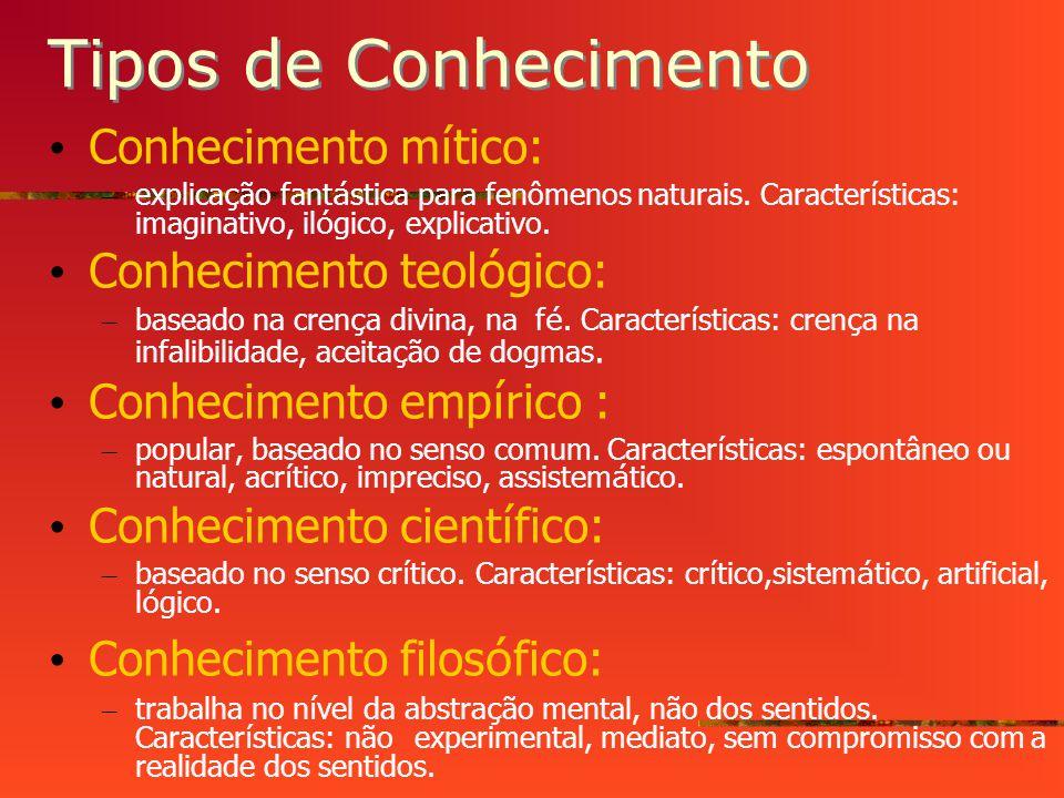 Tipos de Conhecimento Conhecimento m í tico: – explica ç ão fant á stica para fenômenos naturais.