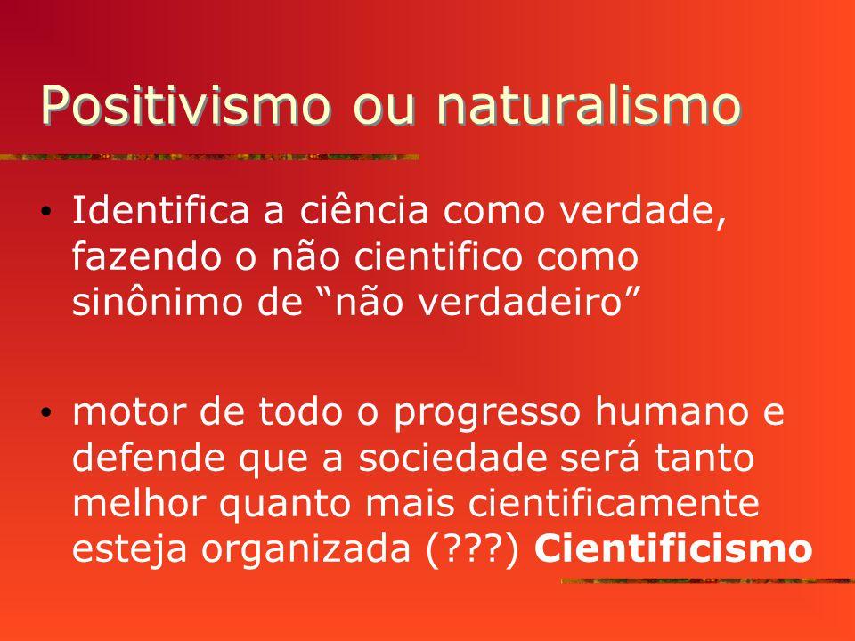 Positivismo ou naturalismo Identifica a ciência como verdade, fazendo o não cientifico como sinônimo de não verdadeiro motor de todo o progresso humano e defende que a sociedade será tanto melhor quanto mais cientificamente esteja organizada (???) Cientificismo