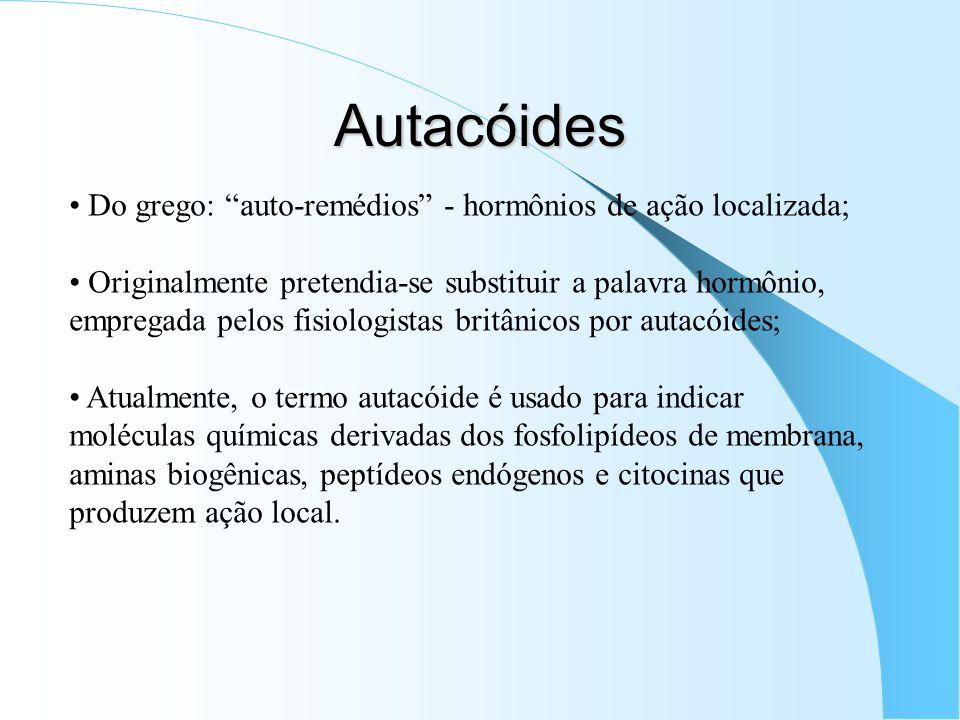 Autacóides Do grego: auto-remédios - hormônios de ação localizada; Originalmente pretendia-se substituir a palavra hormônio, empregada pelos fisiologi