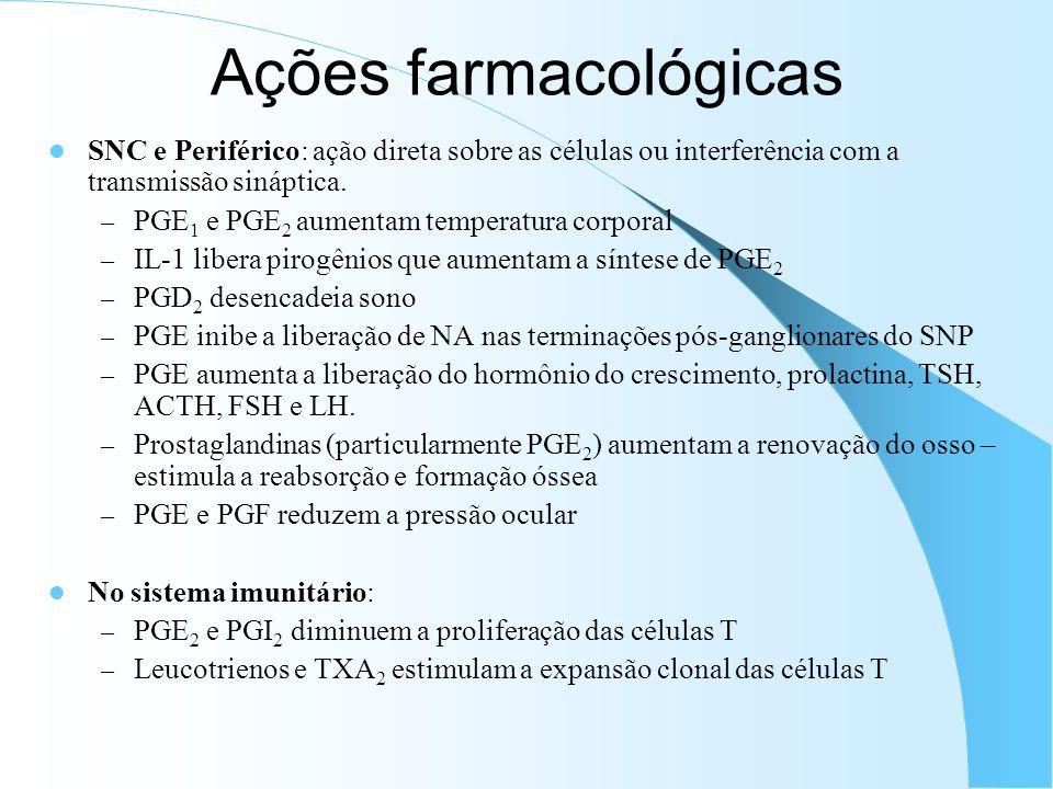 SNC e Periférico: ação direta sobre as células ou interferência com a transmissão sináptica. – PGE 1 e PGE 2 aumentam temperatura corporal – IL-1 libe