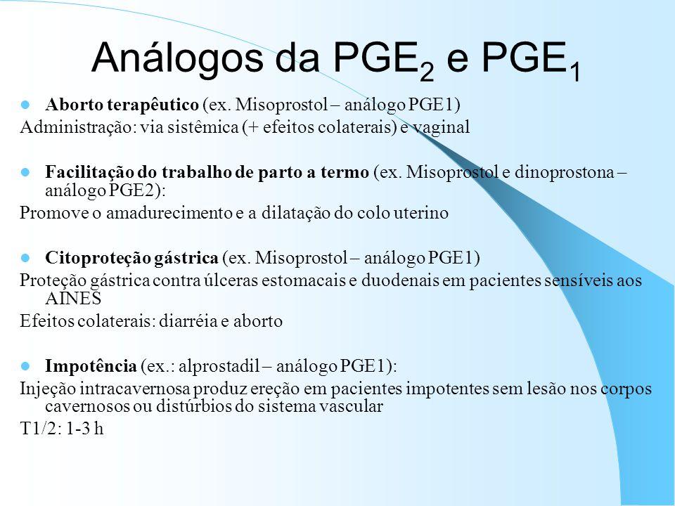 Análogos da PGE 2 e PGE 1 Aborto terapêutico (ex. Misoprostol – análogo PGE1) Administração: via sistêmica (+ efeitos colaterais) e vaginal Facilitaçã
